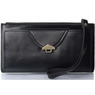 Mammon Women's PU Clutch Wallet (111-Black, Size-18x10x2CM)