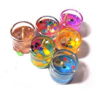 Kartik Cute Little Glass Gel Candles Multi colour 6 Pieces for Diwali Gift/Festival Decoration