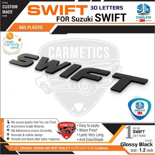 CarMetics Swift 3D Letters for Maruti Suzuki Swift 2018 Glossy Black - Car 3D Sticker 3D Emblem Accessories Decal