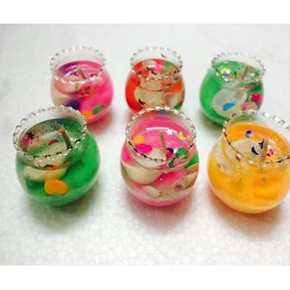 Kartik Cute Little Glass Gel Candles Multicolour 6 Pieces for Diwali Gift/Festival Decoration Diya