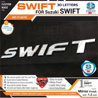 CarMetics Swift 3D Letters for Maruti Suzuki Swift Mirror Finish Car 3D Sticker 3D Emblem Accessories Decals  logo