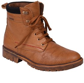 Knoos Tan Synthetic Leather Lace-up Casual Boot For Men