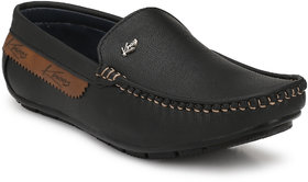 Knoos Men's Black Synthetic Leather Casual Loafer