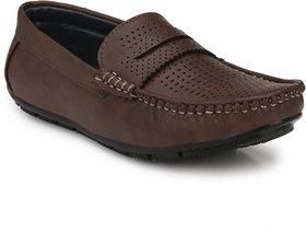 Knoos Men's Brown Synthetic Leather Casual Loafer