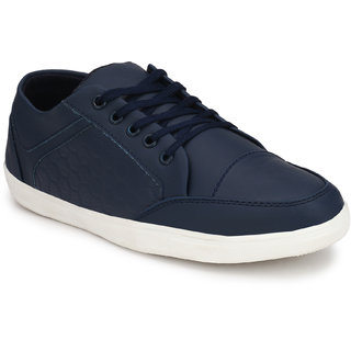 Knoos Men's Blue Synthetic Leather Casual Sneaker
