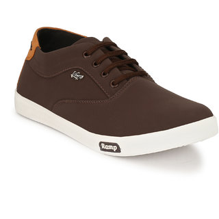 Knoos Men's Brown Synthetic Leather Casual Sneaker
