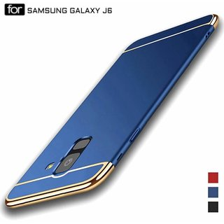 MOBIMON Samsung J6 2018  Hard PC Shell Electroplate Matte 3 in 1 Anti Scratch Proof 360 Degree Back Cover Case (Blue)