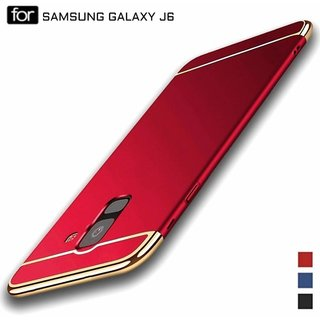 MOBIMON Samsung J6 2018  Hard PC Shell Electroplate Matte 3 in 1 Anti Scratch Proof 360 Degree Back Cover Case (Red)