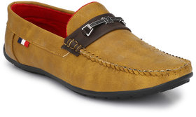 Knoos Men Tan Synthetic Leather Casual Loafer