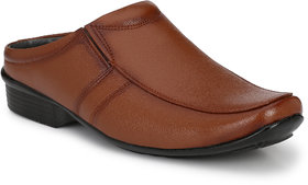 Knoos Men's Tan Synthetic Leather Casual Sandal