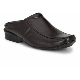 Knoos Men Brown Synthetic Leather Slip on Sandals