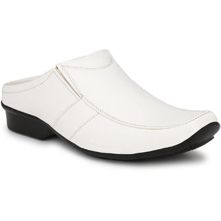 Knoos Men's White Synthetic Leather Casual Sandal