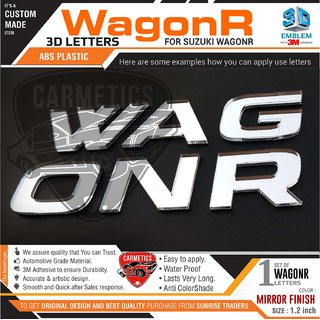 CarMetics WAGONR 3D Letters for Maruti Suzuki WagonR Mirror Finish Accessories  logo  Emblem  Decals