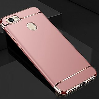 MOBIMON RedMi Y1 Hard PC Shell Electroplate Matte 3 in 1 Anti Scratch Proof 360 Degree Back Cover Case (Rose Gold)