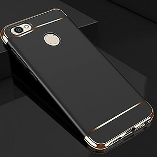 MOBIMON RedMi Y1 Hard PC Shell Electroplate Matte 3 in 1 Anti Scratch Proof 360 Degree Back Cover Case (Black)