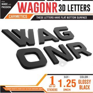 CarMetics WagonR 3D Letters for Maruti Suzuki WagonR Glossy Black Accessories  logo  Emblem  Decals