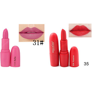 Miss Rose Combo of Two Creame Matte Makeup Lipstick Long lasting And Waterproof Lipstick