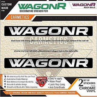 Carmetics Wagonr Stickers For Maruti Suzuki Wagonr Roof Rails - Black + Chrome Accessories  logo  Emblem  Decals