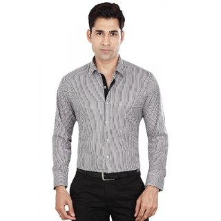 Dudlind Men's Grey Slim Fit Formal Shirt