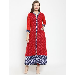 Kvsfab Blue  Red Color Cotton  Georgette Kurta KVSKR08JP