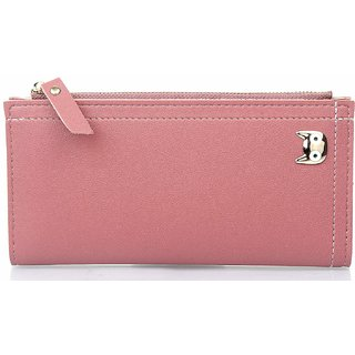 Mammon Women's PU Clutch Wallet (353-Pink, Size-18x10x2 CM)