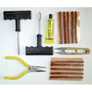 Delhitraderss Complete Tubeless Tyre Puncture Repair Kit (Nose Pliers + Cutter + Rubber Cementfor