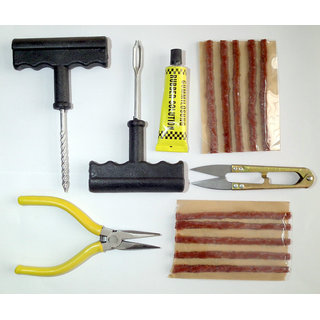 Allyours Complete Tubeless Tyre Puncture Repair Kit (Nose Pliers + Cutter + Rubber Cement