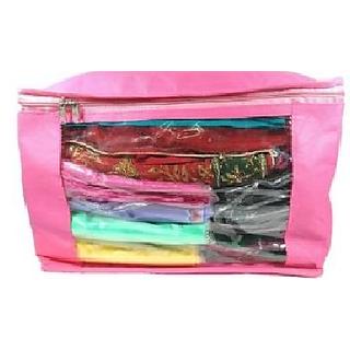 DIMONSIV Plain Pack of 1 Pisces Plain Large Saree Salwar Suit Kamiz Cover Storage Bag  (Pink)