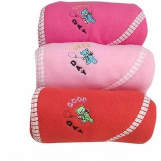 Pack of 3 Plain Crib Fleece Blanket
