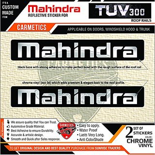 CarMetics Mahindra Tuv 300 Roof Rail Reflective Chrome+Black Sticker For Mahindra Tuv300 Accessories  logo  Emblem  Deca
