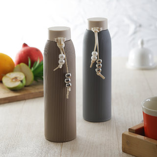 Brine Zeal Glass Insulated Water Bottles Brown  Grey 450 ml - Set of 2
