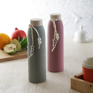 Brine Zeal Glass insulated Water Bottles Pink  Green 450 ml - Set of 2