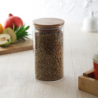 Brine Montana Fine Borosillicate Glass Jar with Wooden Lid 750 ml - Set of 1