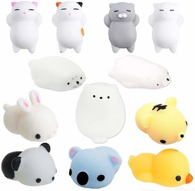 AJI Toys Soft Squishy Release Stress Animal (Pack of 12 Pieces)