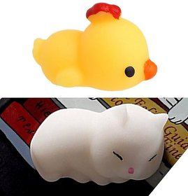 AJI  Slime stress reliever Squishy Toy/Panda/Cat (Yellow) - Set of2