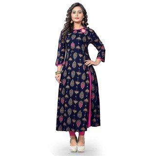 Vaikunth Fabrics Kurti In Navy Blue Color And Rayon Fabric Printed Kurti For Womens VB-KU-188