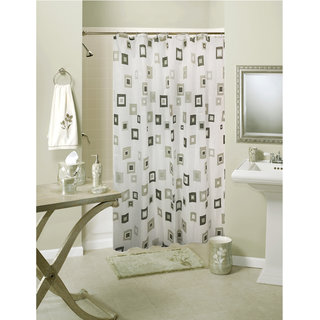Lushomes Digital Solid Square Design Shower curtain with 12 eyelets and 12 hooks (Single pc 71 x 78 180 x 200 cms)