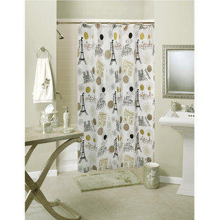 Lushomes Digital Paris Design Shower curtain with 12 eyelets and 12 hooks (Single pc 71 x 78 180 x 200 cms)