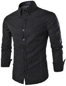 US Pepper Black Dotted Casual Satin Shirt