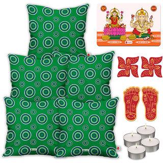 Indigifts Ethnic Print Green Cushion Cover 45.72 cm (18 inch) x 45.72 cm (18 inch) x 1 cm (0.39 inch) Set of 5