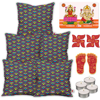 Indigifts Diwali Gifts Multicolor Cushion Cover 45.72 cm (18 inch) x 45.72 cm (18 inch) x 1 cm (0.39 inch) Set of 5