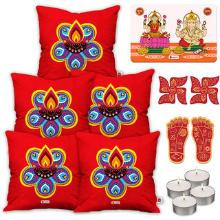 Indigifts Ethnic Print Red Cushion Cover 40.64 cm (16 inch) x 40.64 cm (16 inch) x 1 cm (0.39 inch) Set of 5
