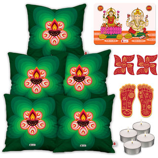 Indigifts Diwali Special Green Cushion Cover 45.72 cm (18 inch) x 45.72 cm (18 inch) x 1 cm (0.39 inch) Set of 5