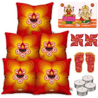 Indigifts Ethnic Print Orange Cushion Cover 45.72 cm (18 inch) x 45.72 cm (18 inch) x 1 cm (0.39 inch) Set of 5