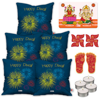 Indigifts Diwali Special Blue Cushion Cover 45.72 cm (18 inch) x 45.72 cm (18 inch) x 1 cm (0.39 inch) Set of 5