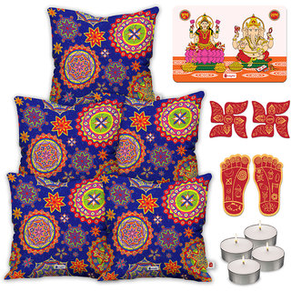 Indigifts Diwali Special Blue Cushion Cover 40.64 cm (16 inch) x 40.64 cm (16 inch) x 1 cm (0.39 inch) Set of 5