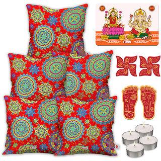 Indigifts Diwali Festival Gifts Orange Cushion Cover 40.64 cm (16 inch) x 40.64 cm (16 inch) x 1 cm (0.39 inch) Set of 5