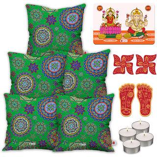 Indigifts Designer Print Green Cushion Cover 40.64 cm (16 inch) x 40.64 cm (16 inch) x 1 cm (0.39 inch) Set of 5