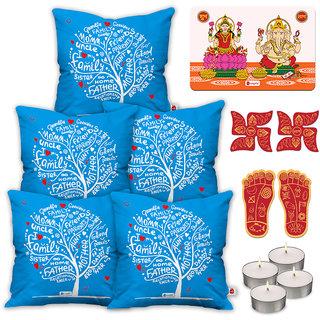 Indigifts Diwali Gifts Blue Cushion Cover 45.72 cm (18 inch) x 45.72 cm (18 inch) x 1 cm (0.39 inch) Set of 5