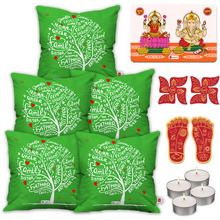 Indigifts Diwali Special Green Cushion Cover 45.72 cm (18 inch) x 45.72 cm (18 inch) x 1 cm (0.39 inch) Set of 5